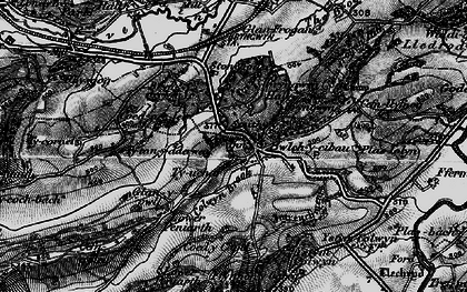Old map of Afon Cain in 1897