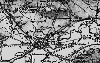 Old map of Caersws in 1899
