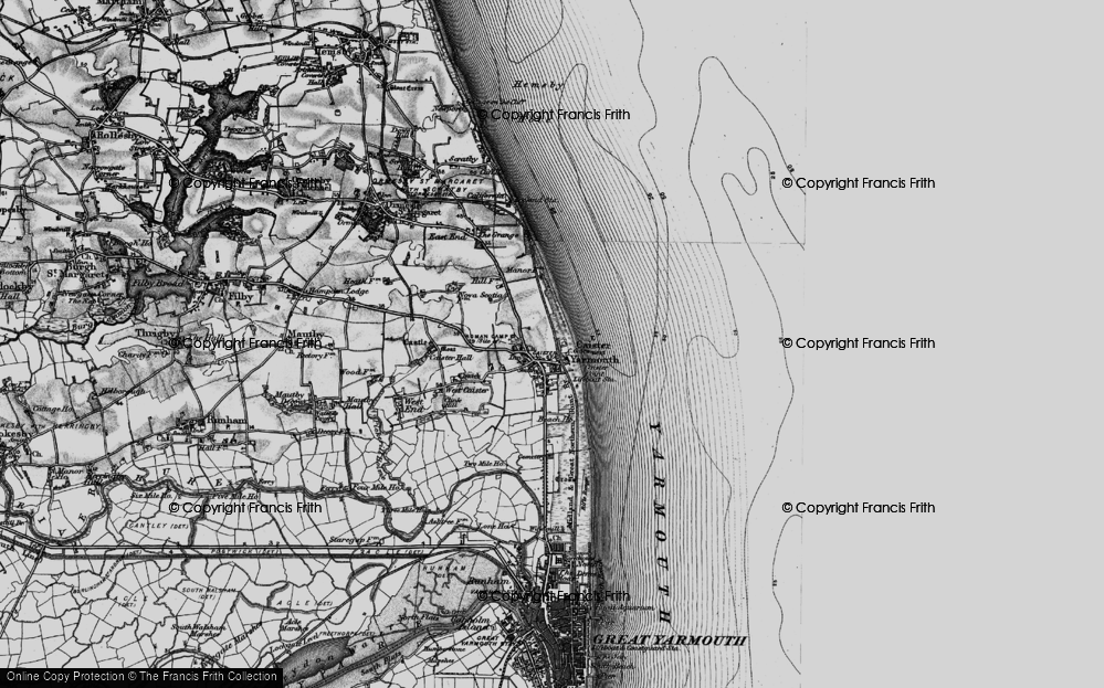 Old Map of Caister-on-Sea, 1898 in 1898