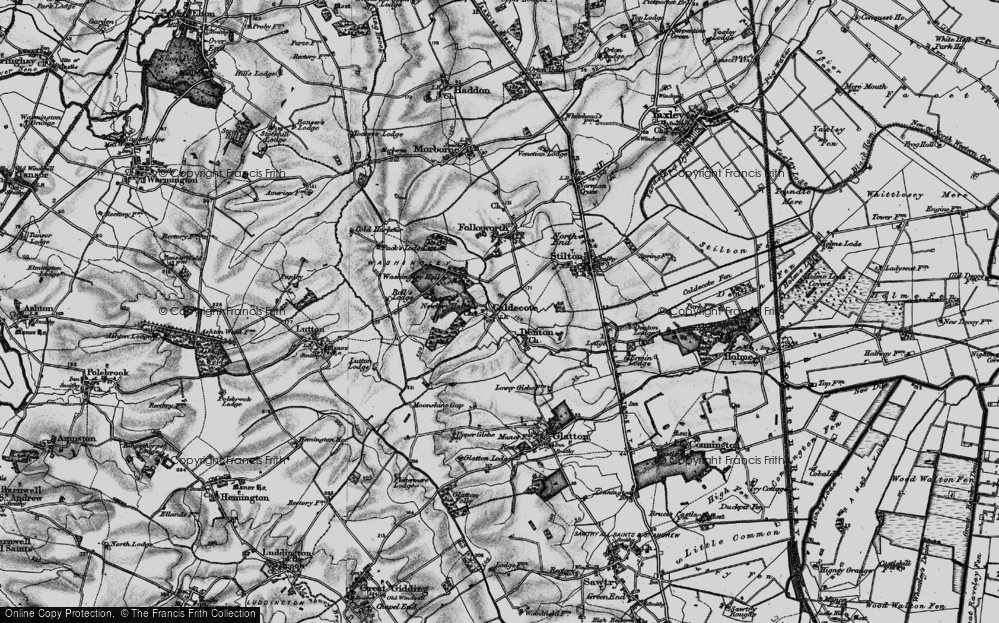 Old Map of Caldecote, 1898 in 1898