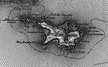 Old map of Caldey Island in 1898