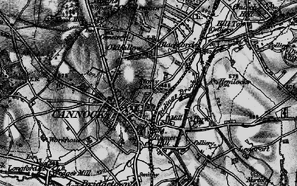 Old map of Cannock in 1898
