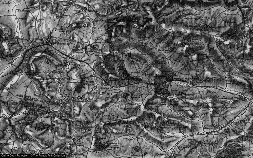 Old Map of Historic Map covering Ashby Gorse in 1896