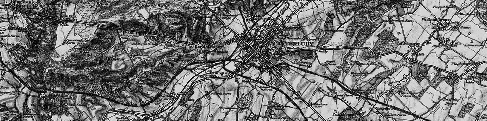 Old map of Canterbury in 1895