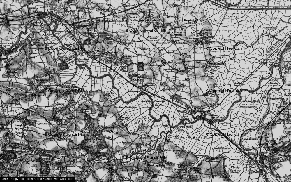 Old Map of Historic Map covering Langley Marshes in 1898