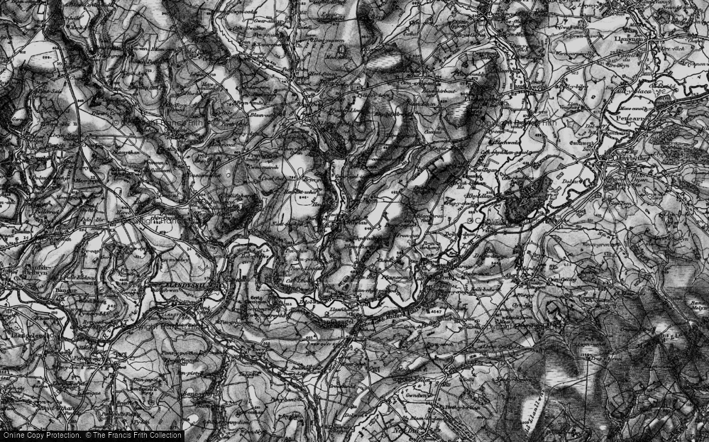 Old Map of Historic Map covering Afon Clettwr in 1898