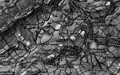 Old map of Capel Gwynfe in 1898