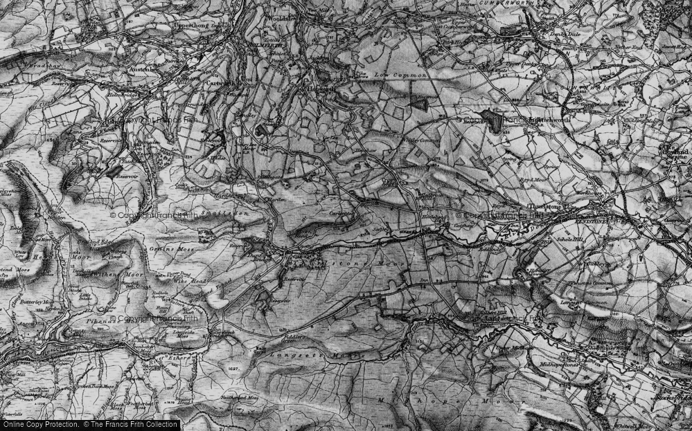 Old Map of Historic Map covering Thurlstone Moors in 1896