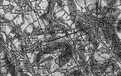 Old map of Carn Brea Village in 1896