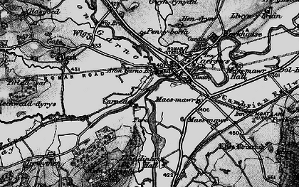 Old map of Afon Carno in 1899