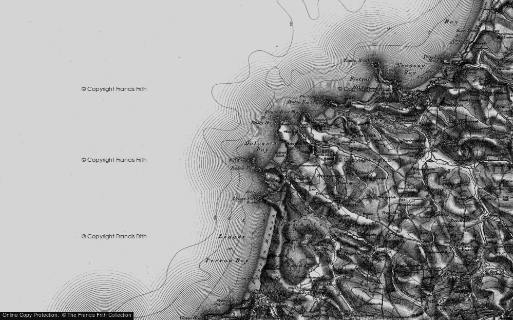 Old Map of Historic Map covering Ligger Point in 1895