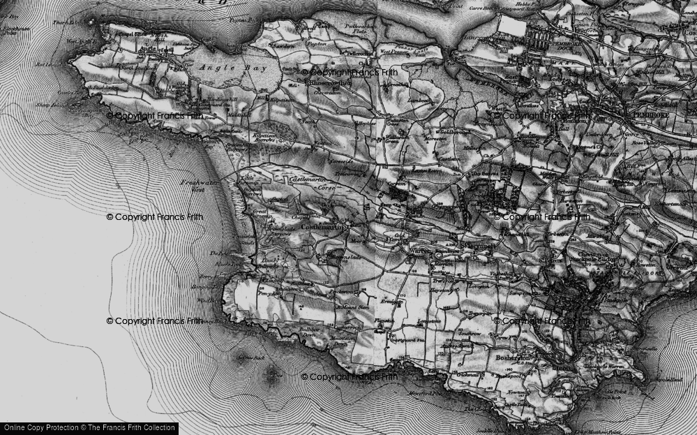 Old Map of Historic Map covering Linney Burrows in 1898