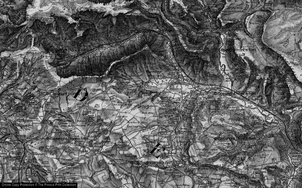Old Map of Historic Map covering Limestone Way in 1896