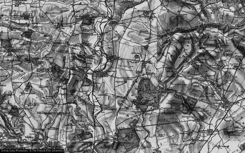 Old Map of Historic Map covering Aves Ditch in 1896