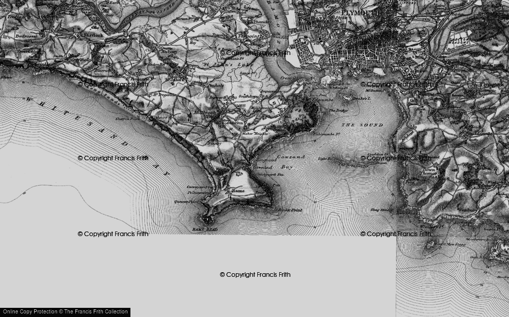 Old Map of Cawsand, 1896 in 1896