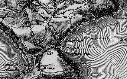 Old map of Cawsand in 1896