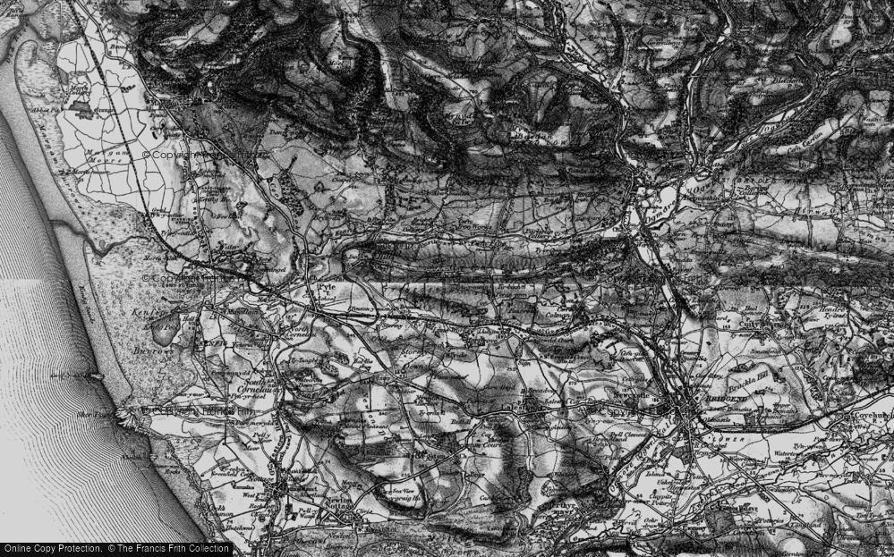 Old Map of Cefn Cribwr, 1897 in 1897
