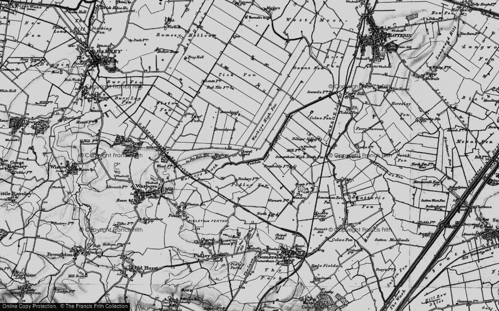 Old Map of Historic Map covering Tick Fen in 1898