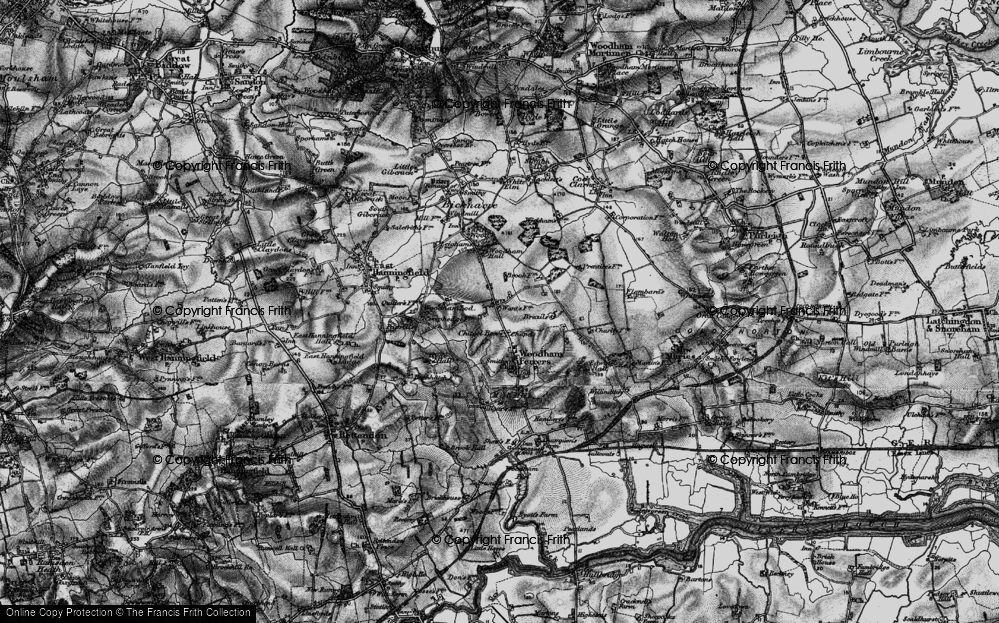 Old Map of Historic Map covering Woodham Lodge in 1896
