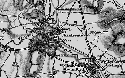 Old map of Charlecote in 1898