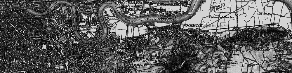 Old map of Woolwich Common in 1896
