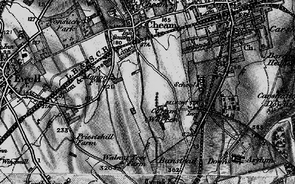 Old map of Cheam in 1896