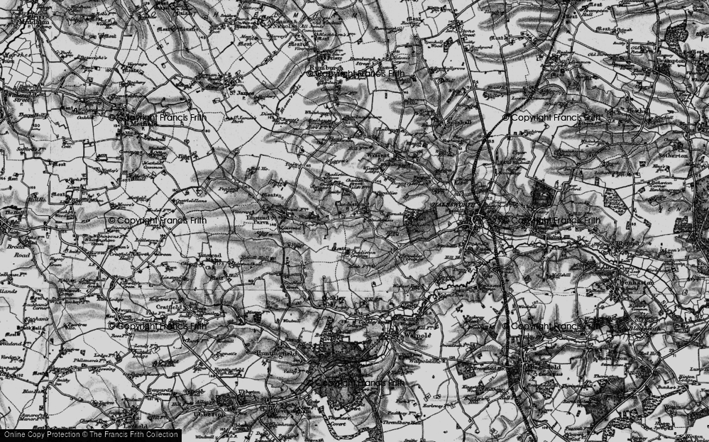 Old Map of Historic Map covering Linstead Parva in 1898