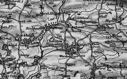 Old map of Cheriton Fitzpaine in 1898