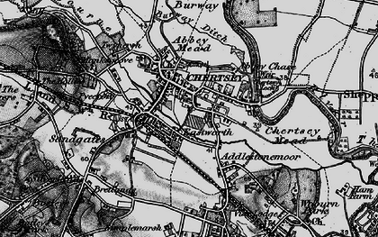Old map of Chertsey in 1896