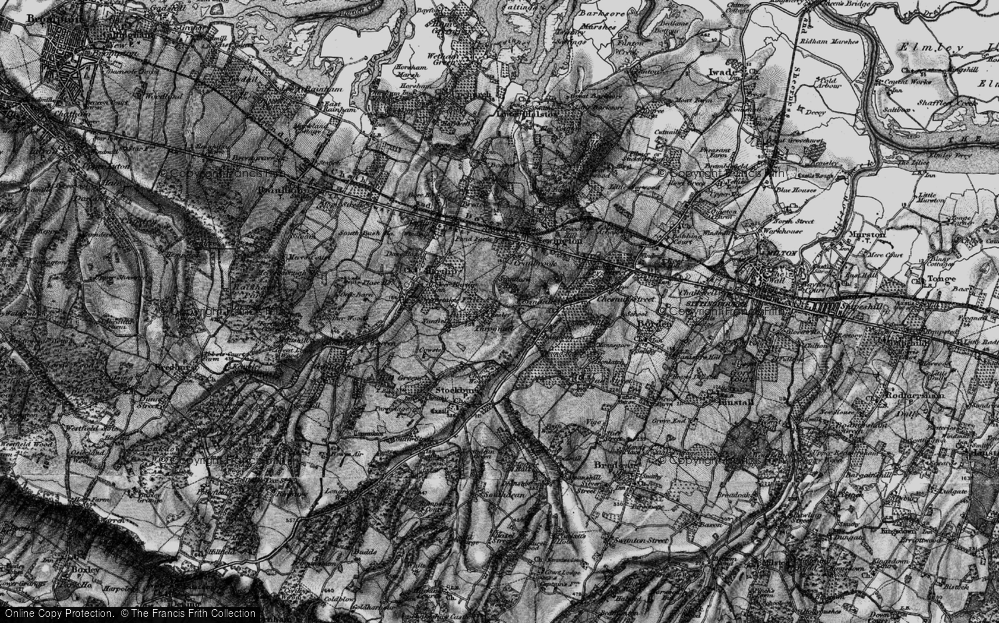 Old Map of Historic Map covering Wormdale in 1895