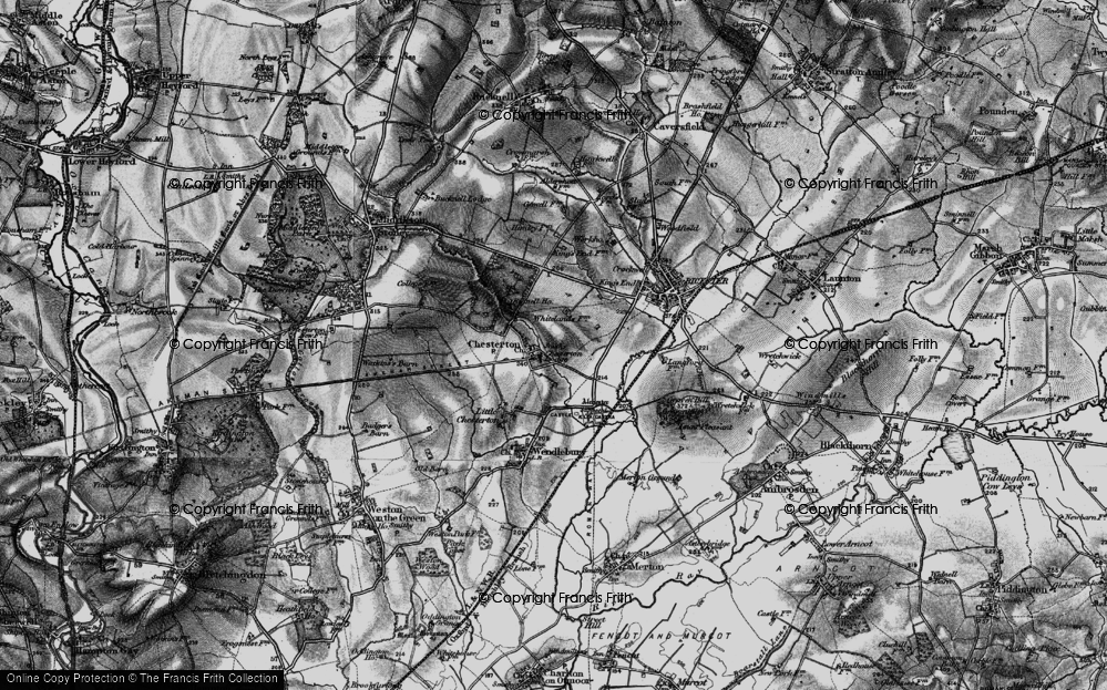 Old Map of Historic Map covering Alchester (Roman Town) in 1896
