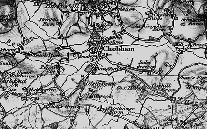 Old map of Chobham in 1896