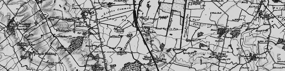 Old map of Woodwalton Fen in 1898