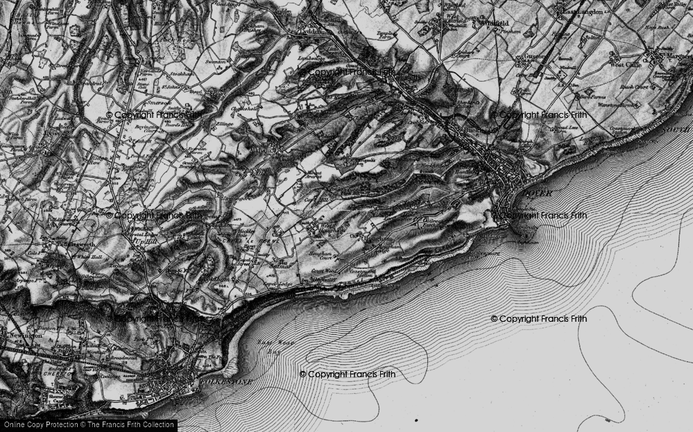 Old Map of Historic Map covering Abbot's Cliff in 1895