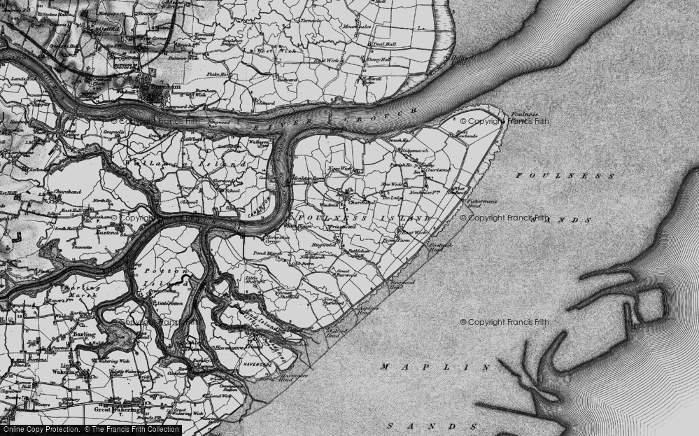 Old Map of Historic Map covering Asplins Head in 1895