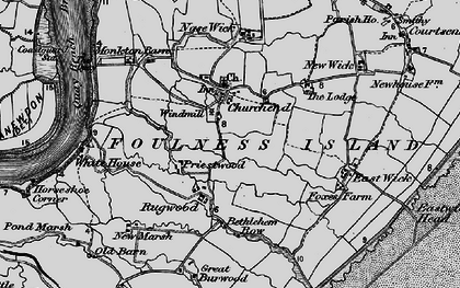 Old map of Foulness Island in 1895