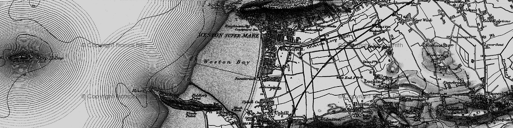 Old map of Weston Bay in 1898