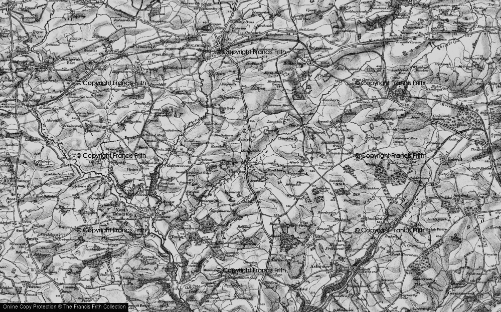 Old Map of Historic Map covering Tinacre in 1895
