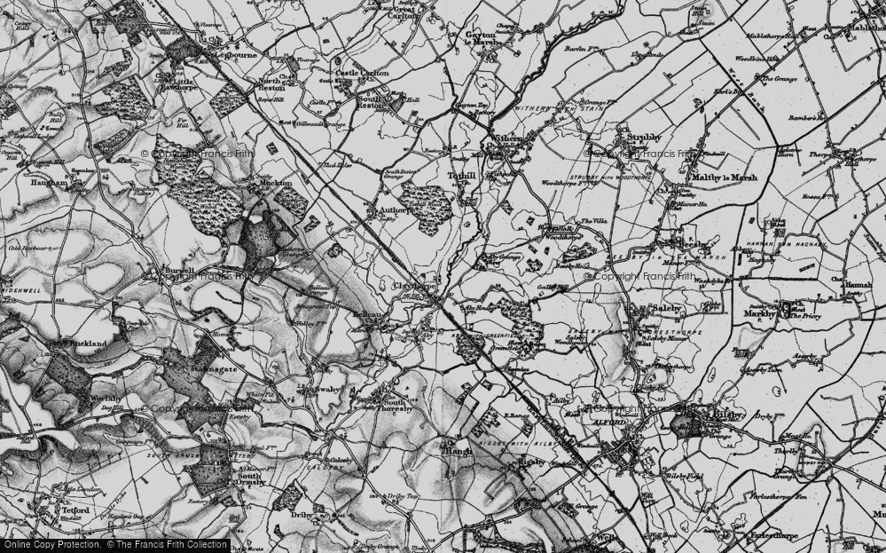Old Map of Historic Map covering Aby Grange in 1899