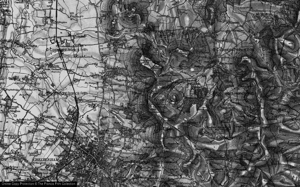 Old Map of Cleeve Hill, 1896 in 1896