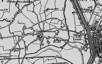 Old map of Clenchwarton in 1893