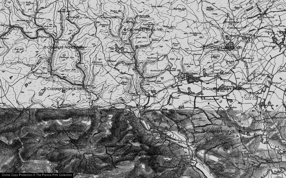 Old Map of Historic Map covering Allerhope Burn in 1897