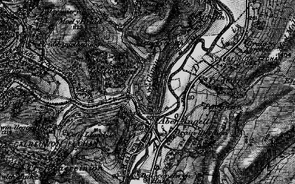 Old map of Afon Caws in 1899