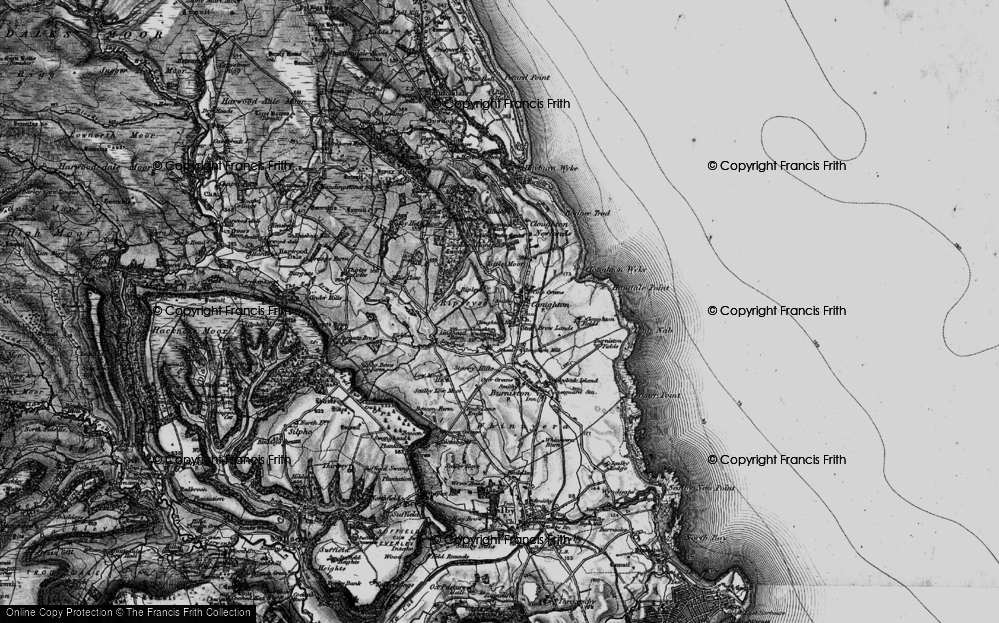 Old Map of Historic Map covering Lindhead Beck in 1897