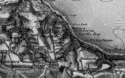 Old map of Clovelly in 1895