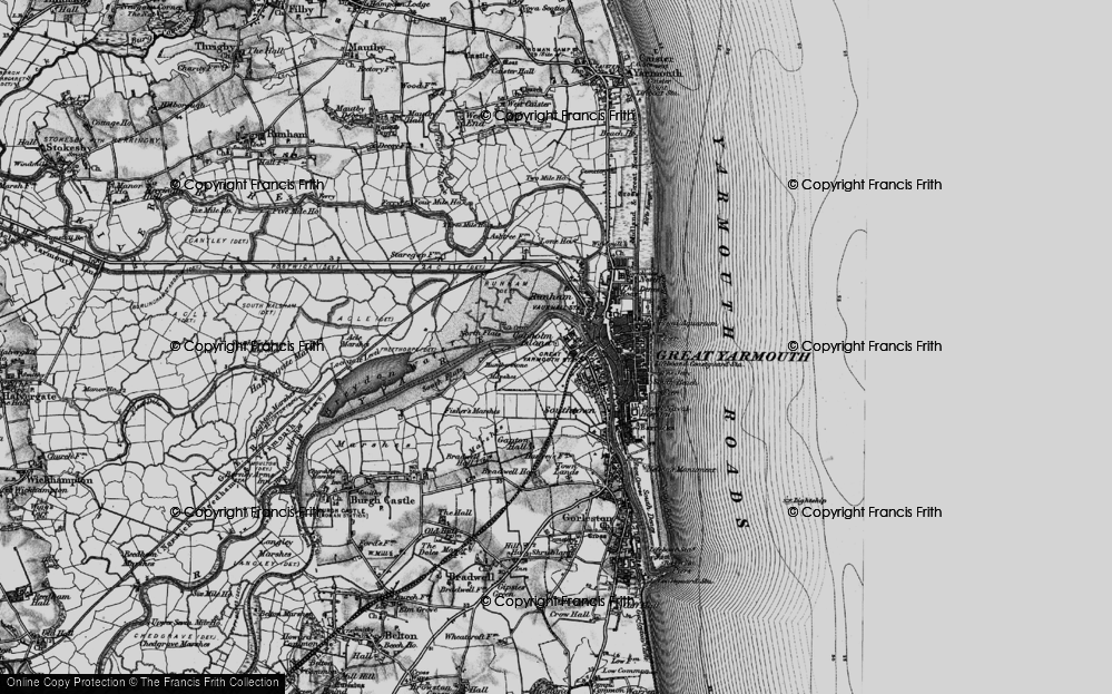 Old Map of Historic Map covering Acle Marshes in 1898