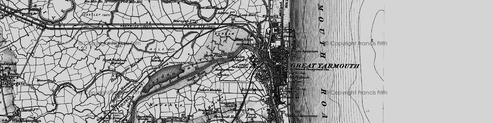 Old map of Acle Marshes in 1898