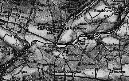 Old map of Afon Glan-rhyd in 1898