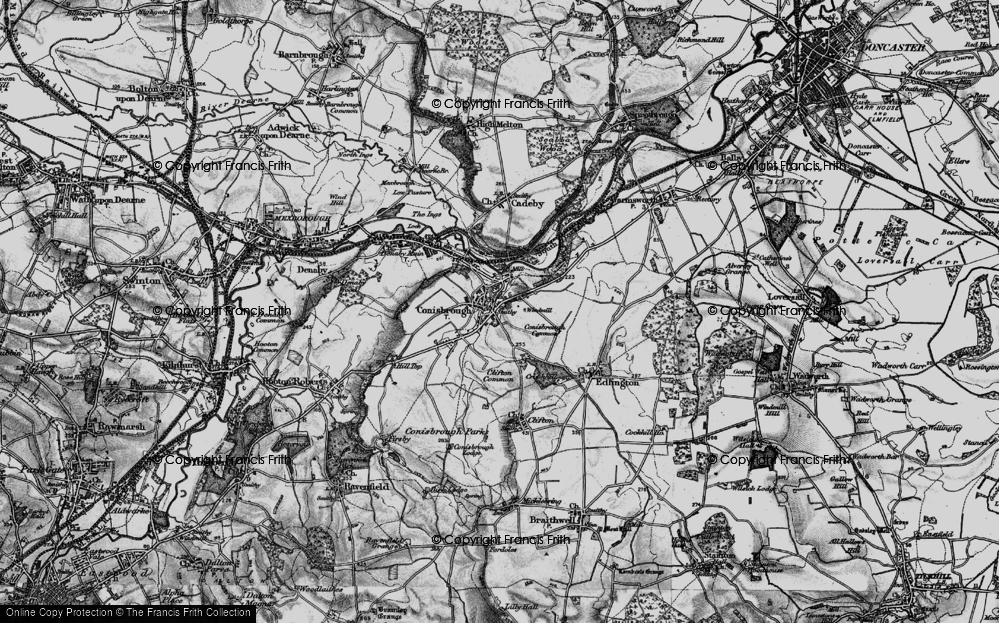 Old Map of Conisbrough, 1895 in 1895
