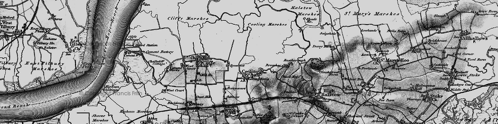 Old map of Whalebone Marshes in 1896